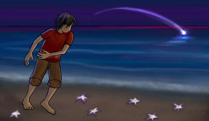 recogiendo estrellas de mar