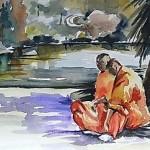 Los monjes, la mujer y el rio