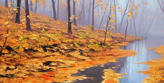 hojas en el rio