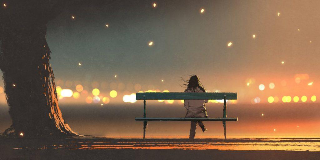 Sentada en un banco pensando en sanar al Niño interior