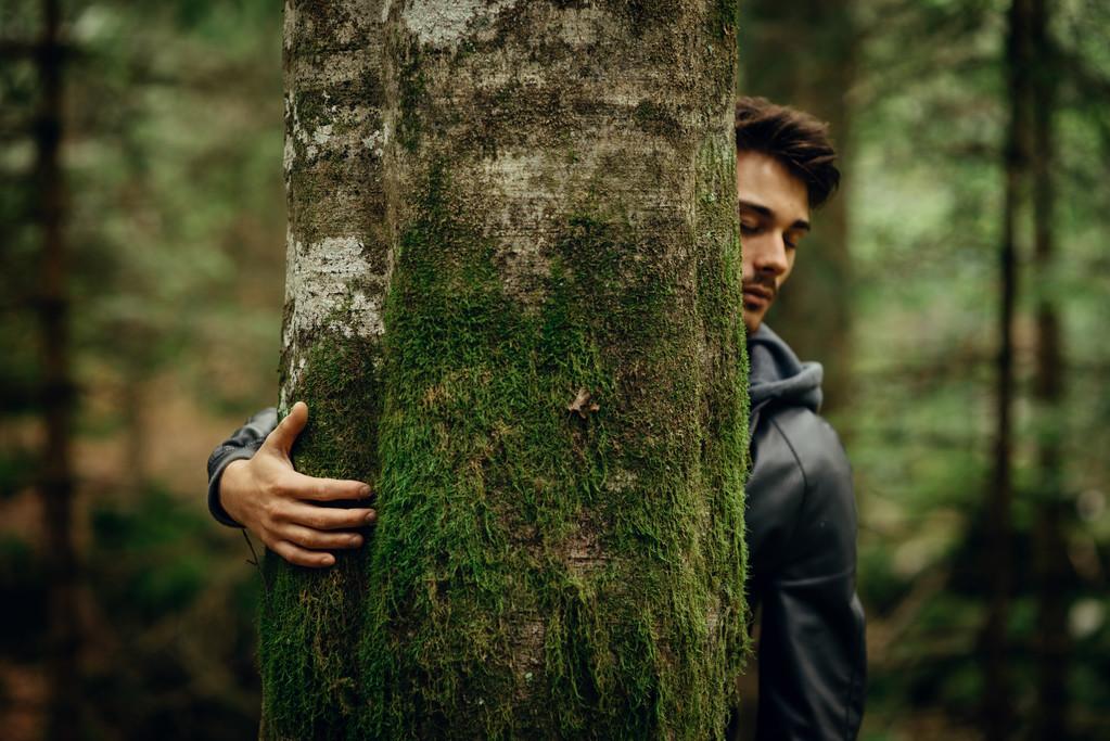 Abrazar un árbol en el baño en el bosque