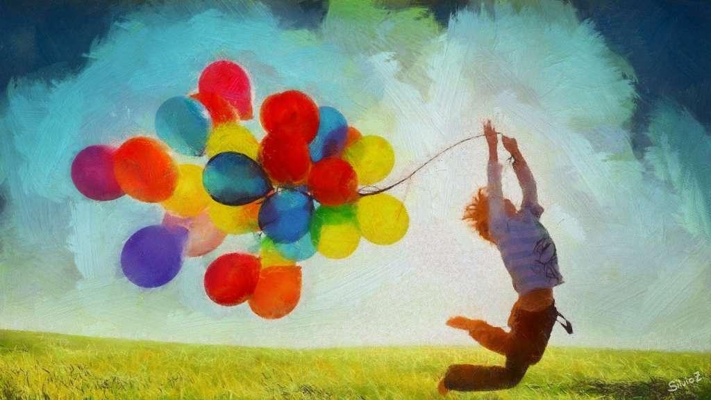 Pintura de un niño con globos en la ley de la atracción