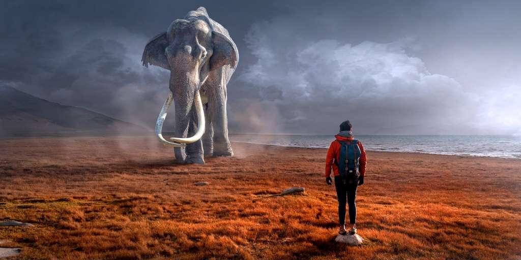Un hombre delante de un mamut dentro de Los sueños lúcidos.
