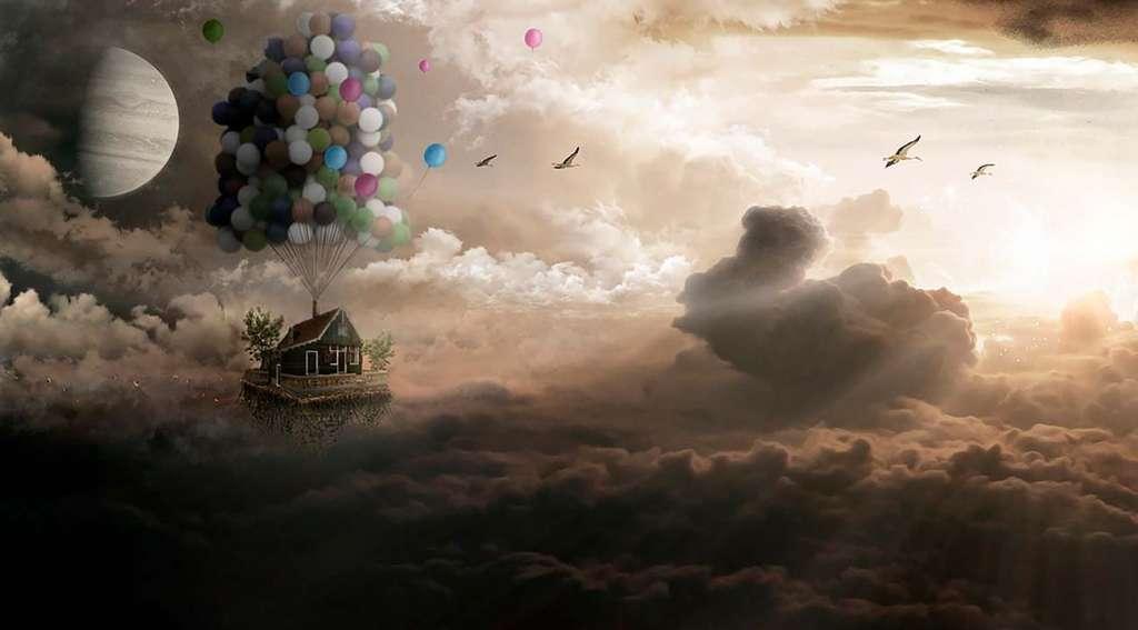 Casa arrastrada por globos en la vida después de la muerte